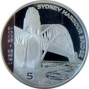 Australia 5 Dollars 75th Anniversary Sydney Harbour Bridge 2007 Proof KM# 1013 1932 - 2007 SYDNEY HARBOUR BRIDGE 5 DOLLARS coin reverse