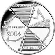 Australia 5 Dollars Adelaide to Darwin Railroad 2004 Proo KM# 729 DARWIN ADELAIDE ALICE SPRINGS 2004 coin reverse