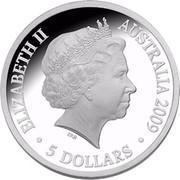Australia 5 Dollars Aurora Australis 2009 KM# 1081 ELIZABETH II AUSRALIA 2009 5 DOLLARS IRB coin obverse