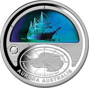 Australia 5 Dollars Aurora Australis 2009 KM# 1081 AURORA AUSTRALIS AUSTRALIAN ANTARCTIC TERRITORY INTERNATIONAL POLAR YEAR 2007-2008 MAWSON DAVIS CASEY INTERNATIONAL POLAR YEAR 2007-2008 coin reverse