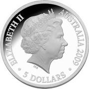 Australia 5 Dollars Australian Antarctic Explorers 2009 KM# 1080 ELIZABETH II AUSTRALIA 2009 5 DOLLARS IRB coin obverse