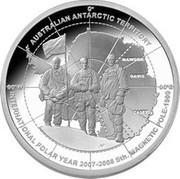 Australia 5 Dollars Australian Antarctic Explorers 2009 KM# 1080 AUSTRALIAN ANTARCTIC TERRITORY INTERNATIONAL POLAR YEAR 2007-2008 STH. MAGNETIC POLE-1909 CASEY DAVIS MAWSON H' 0° 90°W 90°E coin reverse