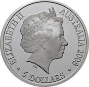 Australia 5 Dollars Australian Antarctic Territory 2008 Proof KM# 1055 ELIZABETH II AUSTRALIA 2008 5 DOLLARS IRB coin obverse