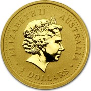 Australia 5 Dollars Australian Nugget 2001 KM# 893 ELIZABETH II AUSTRALIA ∙5 DOLLARS∙ IRB coin obverse