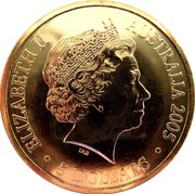 Australia 5 Dollars Australian Open 2005 2005 KM# 750 ELIZABETH II AUSTRALIA 2005 5 DOLLARS IRB coin obverse