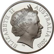Australia 5 Dollars Aviation History - Boeing 747 2010 KM# 1512 ELIZABETH II AUSTRALIA 2010 IRB coin obverse