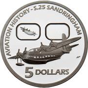 Australia 5 Dollars Aviation - S.25 Sandringham 2010 Proof KM# 1511 AVIATION HISTORY - S.25 SANDRINGHAM 5 DOLLARS coin reverse