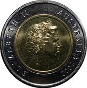 Australia 5 Dollars Battle of Sunda Strait 2002 KM# 601 ELIZABETH II AUSTRALIA 2002 IRB coin obverse