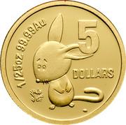 Australia 5 Dollars Binny Bilby 2008 Proof KM# 1067 1/25 OZ 99.99 AU 5 DOLLARS coin reverse