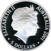 Australia 5 Dollars Centenary of Federation 2001 KM# 591 ELIZABETH II AUSTRALIA 2001 5 DOLLARS IRB coin obverse