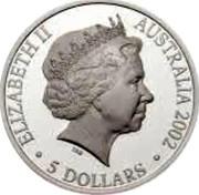 Australia 5 Dollars Commonwealth Games 2002 B Proof KM# 652 ELIZABETH II AUSTRALIA 2002 5 DOLLARS coin obverse