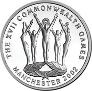Australia 5 Dollars Commonwealth Games 2002 B Proof KM# 652 THE XVII COMMONWEALTH GAMES MANCHESTER 2002 coin reverse