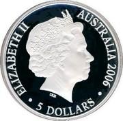 Australia 5 Dollars Commonwealth Games Melbourne 2006 KM# 782 ELIZABETH II AUSTRALIA 2006 5 DOLLARS IRB coin obverse