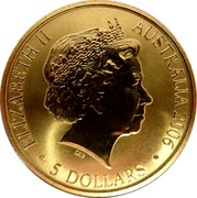 Australia 5 Dollars Commonwealth Games Melbourne 2006 KM# 783 ELIZABETH II AUSTRALIA 2006 5 DOLLARS IRB coin obverse