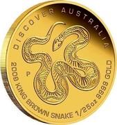 Australia 5 Dollars Discover Australia - King Brown Snake 2009 KM# 1219 DISCOVER AUSTRALIA 2009 KING BROWN SNAKE 1/25 OZ 9999 GOLD P DB coin reverse