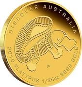 Australia 5 Dollars Discover Australia - Platypus 2010 KM# 1414 DISCOVER AUSTRALIA 2010 PLATYPUS 1/25 OZ 9999 GOLD P DB coin reverse