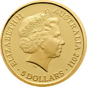 Australia 5 Dollars Historic Convict Past - Cascades Female Factory 2011 Proof KM# 1638 ELIZABETH II AUSTRALIA 2011 5 DOLLARS IRB coin obverse