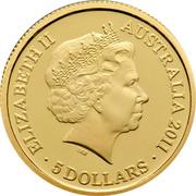 Australia 5 Dollars Historic Convict Past - Fremantle Prison 2011 Proof KM# 1639 ELIZABETH II AUSTRALIA 2011 5 DOLLARS IRB coin obverse
