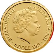 Australia 5 Dollars Historic Convict Past - Hyde Park Barracks 2011 Proof KM# 1636 ELIZABETH II AUSTRALIA 2011 5 DOLLARS IRB coin obverse