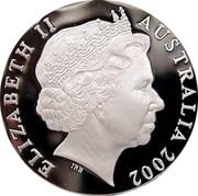 Australia 5 Dollars HMB Endeavour 2002 KM# 654 ELIZABETH II AUSTRALIA 2002 IRB coin obverse