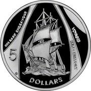 Australia 5 Dollars HMB Endeavour 2002 KM# 654 5 DOLLARS HM BARK ENDEAVOUR VOYAGES INTO HISTORY coin reverse