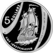 Australia 5 Dollars HMS Investigator 2002 KM# 656 5 DOLLARS HMS INVESTIGATOR VOYAGES INTO HISTORY coin reverse