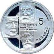 Australia 5 Dollars Kingston - Barton and Deakin 2001 KM# 637 KINGSTON BARTON DEAKIN 5 DOLLARS coin reverse