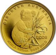 Australia 5 Dollars Koala 2006 Proof KM# 959 DISCOVER AUSTRALIA 2006 KOALA 1/25 OZ. 9999 GOLD coin reverse