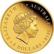 Australia 5 Dollars Koala on branch 2010 KM# 1467 ELIZABETH II AUSTRALIA 2010 5 DOLLARS IRB coin obverse