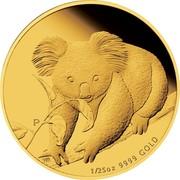 Australia 5 Dollars Koala on branch 2010 KM# 1467 1/25 OZ 9999 GOLD P coin reverse