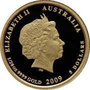 Australia 5 Dollars Kookaburra 20th Anniversary 2009 Proof KM# 1314 ELIZABETH II AUSTRALIA 1/20OZ 9999 GOLD 2009 5 DOLLARS coin obverse