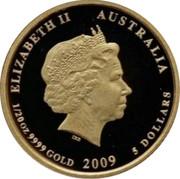 Australia 5 Dollars Kookaburra 20th Anniversary - Standing on stump right 2009 Proof KM# 1297 ELIZABETH II AUSTRALIA 1/10 OZ 9999 GOLD 2009 5 DOLLARS coin obverse
