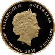 Australia 5 Dollars Kookaburra in flight right 2009 Proof KM# 1303 ELIZABETH II AUSTRALIA 1/20 OZ 9999 GOLD 2009 5 DOLLARS coin obverse