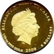 Australia 5 Dollars Kookaburra left on leafy branch 2009 Proof KM# 1307 ELIZABETH II AUSTRALIA 1/20 OZ 9999 GOLD 2009 5 DOLLARS coin obverse