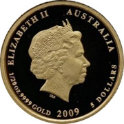 Australia 5 Dollars Kookaburra on branch admiring spider web 2009 Proof KM# 1315 ELIZABETH II AUSTRALIA 1/20 OZ 9999 GOLD 2009 5 DOLLARS coin obverse