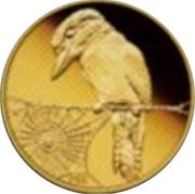 Australia 5 Dollars Kookaburra on branch admiring spider web 2009 Proof KM# 1315 P20 coin reverse