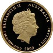 Australia 5 Dollars Kookaburra on branch feeding young at right 2009 Proof KM# 1300 ELIZABETH II AUSTRALIA 1/20 OZ 9999 GOLD 2009 5 DOLLARS coin obverse