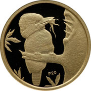 Australia 5 Dollars Kookaburra on branch feeding young at right 2009 Proof KM# 1300 P20 coin reverse