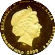 Australia 5 Dollars Kookaburra on branch head left 2009 Proof KM# 1302 ELIZABETH II AUSTRALIA 1/20 OZ 9999 GOLD 2009 5 DOLLARS coin obverse