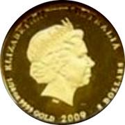 Australia 5 Dollars Kookaburra on branch left 2009 Proof KM# 1299 ELIZABETH II AUSTRALIA 1/20 OZ 9999 GOLD 2009 5 DOLLARS coin obverse