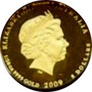 Australia 5 Dollars Kookaburra on branch righ 2009 Proof KM# 1310 ELIZABETH II AUSTRALIA 1/20 OZ 9999 GOLD 2009 5 DOLLARS coin obverse