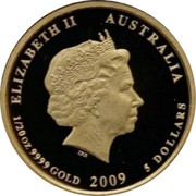 Australia 5 Dollars Kookaburra on fence post 2009 Proof KM# 1305 ELIZABETH II AUSTRALIA 1/20 OZ 9999 GOLD 2009 5 DOLLARS coin obverse