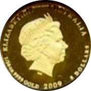 Australia 5 Dollars Kookaburra pair facing opposite 2009 Proof KM# 1308 ELIZABETH II AUSTRALIA 1/20 OZ 9999 GOLD 2009 5 DOLLARS coin obverse