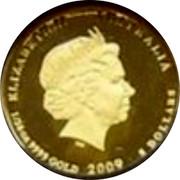 Australia 5 Dollars Kookaburra pair on branch one with head upward 2009 Proof KM# 1313 ELIZABETH II AUSTRALIA 1/20 OZ 9999 GOLD 2009 5 DOLLARS coin obverse