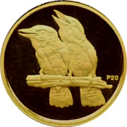 Australia 5 Dollars Kookaburra pair on branch one with head upward 2009 Proof KM# 1313 P20 coin reverse