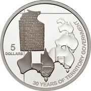 Australia 5 Dollars Northern Territory 2008 KM# 1065 5 DOLLARS 30 YEARS OF TERRITORY GOVERNMENT NOTHERN TERRITORY coin reverse