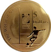 Australia 5 Dollars Rugby World Cup 2003 KM# 854 THE WORLD IN UNION 5 DOLLARS IRB RUGBY WORLD CUP 2003 coin reverse