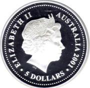 Australia 5 Dollars Sir Donald Bradman 2001 Proof KM# 761 ELIZABETH II AUSTRALIA 2001 5 DOLLARS coin obverse