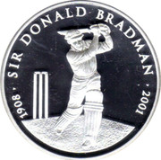 Australia 5 Dollars Sir Donald Bradman 2001 Proof KM# 761 1908 SIR DONALD BRADMAN 2001 coin reverse