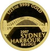 Australia 5 Dollars Sydney Harbour bridge 2007 KM# 1117 1/25 OZ 9999 GOLD 2007 SYDNEY HARBOUR BRIDGE P coin reverse